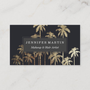 Palm tree business cards templates zazzle glamorous gold tropical palm trees on black business card colourmoves