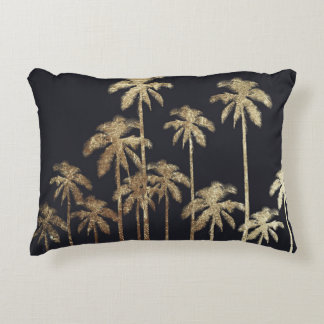 Glamorous Gold Tropical Palm Trees on Black Decorative Pillow