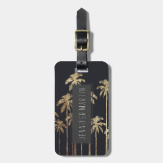 Glamorous Gold Tropical Palm Trees on Black Luggage Tag