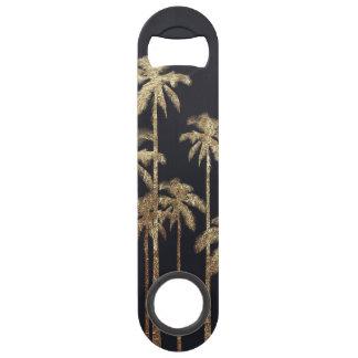 Glamorous Gold Tropical Palm Trees on Black Speed Bottle Opener
