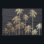 """Glamorous Gold Tropical Palm Trees on Black Towel<br><div class=""""desc"""">This glamorous and modern faux printed gold palm trees is perfect for the trendy and stylish individual. Its contemporary and tropical print is great for many gifts and occasions. Enjoy this swanky and exotic design for your next purchase!</div>"""
