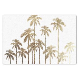 "Glamorous Gold Tropical Palm Trees on White 10"" X 15"" Tissue Paper"