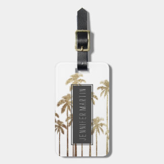 Glamorous Gold Tropical Palm Trees on White Bag Tag