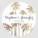 Glamorous Gold Tropical Palm Trees on White Classic Round Sticker