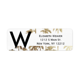 Glamorous Gold Tropical Palm Trees on White Label