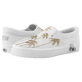 Glamorous Gold Tropical Palm Trees on White Slip-On Sneakers