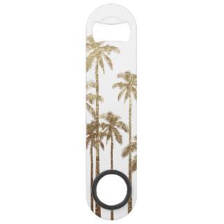 Glamorous Gold Tropical Palm Trees on White Speed Bottle Opener