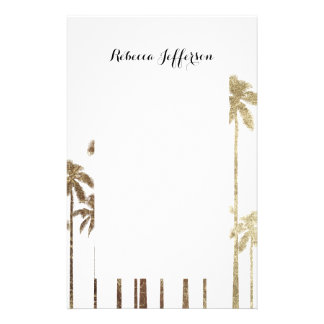 Glamorous Gold Tropical Palm Trees on White Stationery
