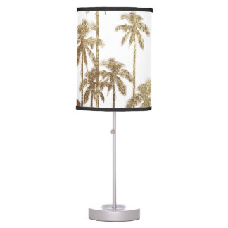 Glamorous Gold Tropical Palm Trees On White Table Lamp