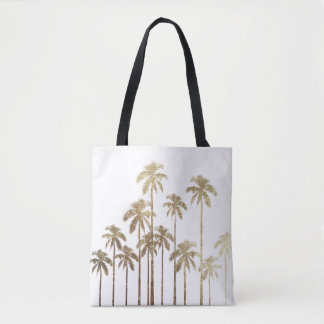 Glamorous Gold Tropical Palm Trees on White Tote Bag