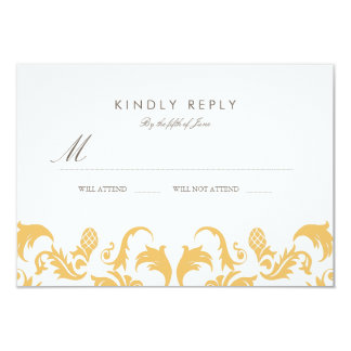 Glamorous Gold Wedding RSVP 3.5x5 Paper Invitation Card