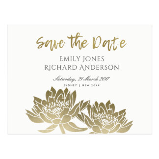 GLAMOROUS GOLD WHITE LOTUS FLORAL SAVE THE DATE POSTCARD