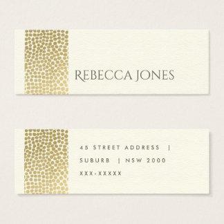 GLAMOROUS GOLD WHITE MOSAIC DOTS ADDRESS MINI BUSINESS CARD