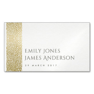GLAMOROUS GOLD WHITE MOSAIC DOTS  SAVE THE DATE BUSINESS CARD MAGNET