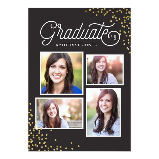 Glamorous Grad 4-Photo Collage Graduation Card