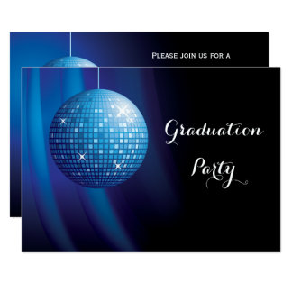 Glamorous Graduation Blue Party Disco Ball Card