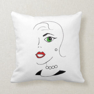 Glamorous Green Eyed Girl Throw Pillow