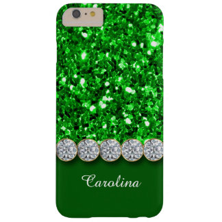 Glamorous Green Glitter And Sparkly Diamonds Case Barely There iPhone 6 Plus Case