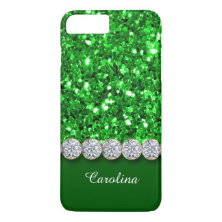 Glamorous Green Glitter And Sparkly Diamonds Case