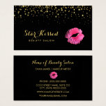 Glamorous Hot Pink Kiss With Faux Gold Glitter Business Card at Zazzle