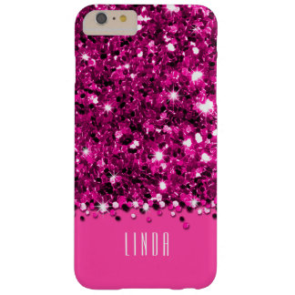 Glamorous Hot Pink Sparkly Glitter Confetti Case Barely There iPhone 6 Plus Case