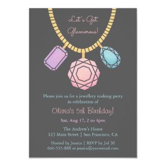 Glamorous Jewellery Making Girls Birthday Party Card