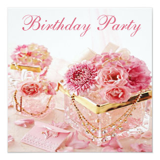 "Glamorous Jewels, Flowers & Boxes Birthday Party 5.25"" Square Invitation Card"