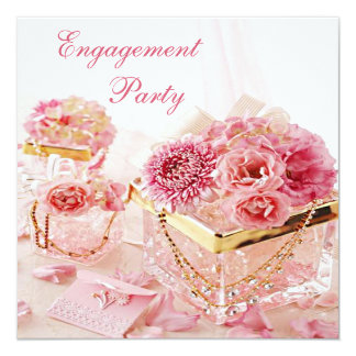"Glamorous Jewels, Flowers & Boxes Engagement Party 5.25"" Square Invitation Card"