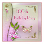 Glamorous Key, Magnolia & Butterfly 100th Birthday Card