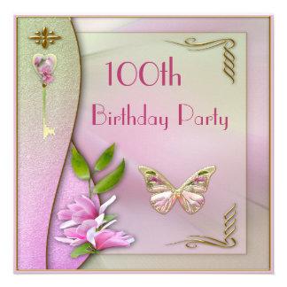 Glamorous Key Magnolia Butterfly 100th Birthday Invitations