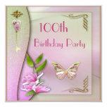 Glamorous Key, Magnolia & Butterfly 100th Birthday Invitation