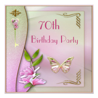 Glamorous Key, Magnolia & Butterfly 70th Birthday Card