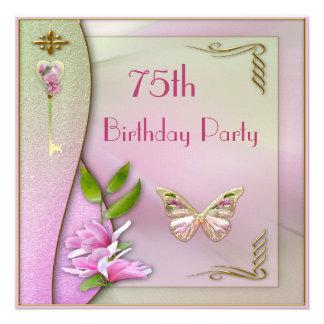 Glamorous Key Magnolia Butterfly 75th Birthday Invites