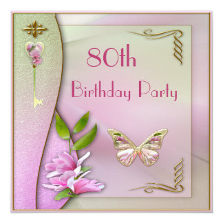 Glamorous Key, Magnolia & Butterfly 80th Birthday Card