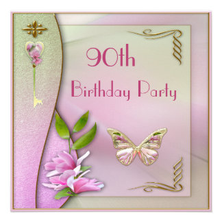 Glamorous Key Magnolia Butterfly 90th Birthday Invites