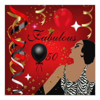 Glamorous Lady Fabulous 50 Fifty Birthday Party 4 Custom Invites