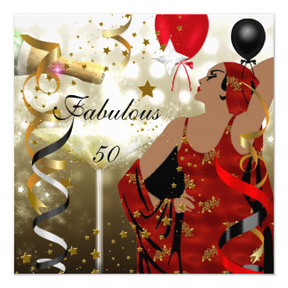 Glamorous Lady Fabulous 50 Fifty Birthday Party Card