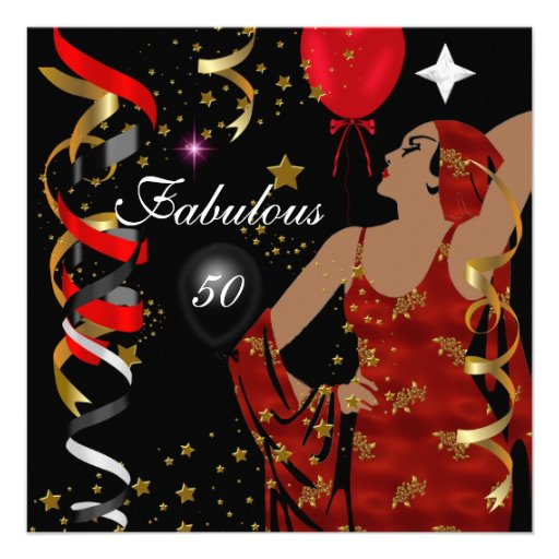 Glamorous Lady Fabulous 50 Fifty Birthday Party Invitations