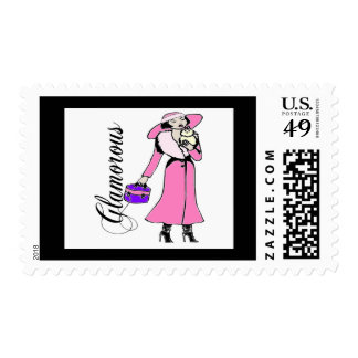Glamorous Lady in Pink Postage Stamp