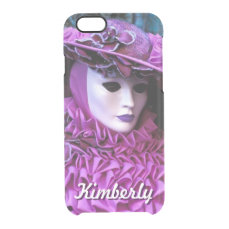 Glamorous Lady With Purple Carnival Costume Clear iPhone 6/6S Case