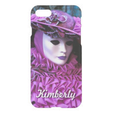 Glamorous Lady With Purple Carnival Costume iPhone 7 Case