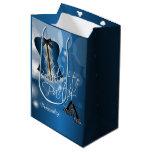 Glamorous Lingerie Bachelorette | Blue Bokeh Medium Gift Bag
