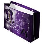 Glamorous Lingerie Bachelorette | Purple Bokeh Large Gift Bag