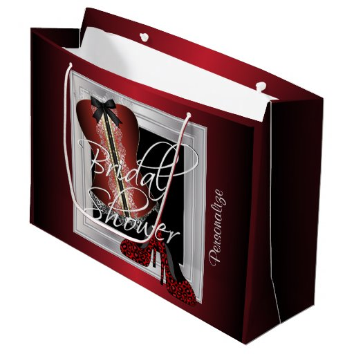 Glamorous Lingerie Bridal Shower | Dark Red Large Gift Bag