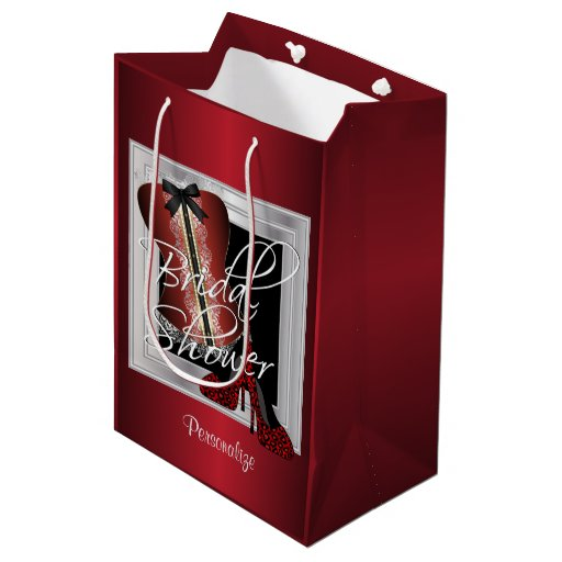 Glamorous Lingerie Bridal Shower | Dark Red Medium Gift Bag