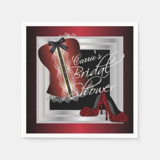 Glamorous Lingerie Bridal Shower   Dark Red Napkin