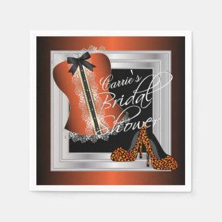 Glamorous Lingerie Bridal Shower   Orange Napkin