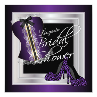 Glamorous Lingerie Bridal Shower | Purple Card
