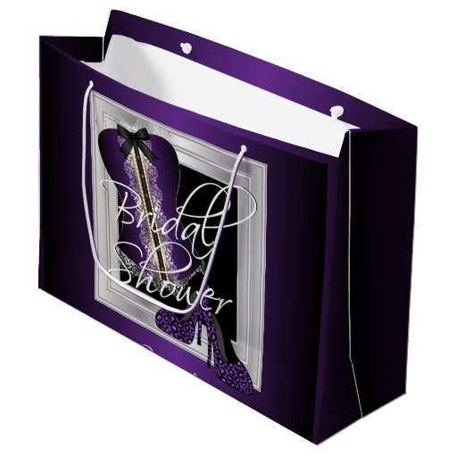 Glamorous Lingerie Bridal Shower | Purple Large Gift Bag