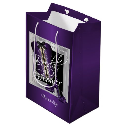 Glamorous Lingerie Bridal Shower | Purple Medium Gift Bag